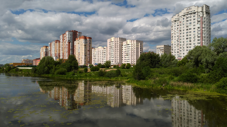 New residential district on the bank of the river Pekhorka. Balashikha, Moscow region, Russia