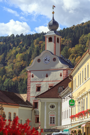 GMUEND IN KAERNTEN, AUSTRIA - OCTOBER 10, 2017. Gmuend in Kaernten, a historic town in the district of Spittal an der Drau, in the Austrian state of Carinthia. Austria