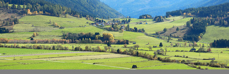 Beautiful agricultural landscape near the municipality of Sankt Margarethen im Lungau in the district of Tamsweg. Alps mountains, federal state of Salzburg, Austria.