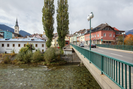 SPITTAL AN DER DRAU, AUSTRIA - OCTOBER 8, 2017.  Bridge over the river in the historical center. Town of Spittal an der Drau, Gurktal Alps (Nock Mountains), federal state of Carinthia, Austria.