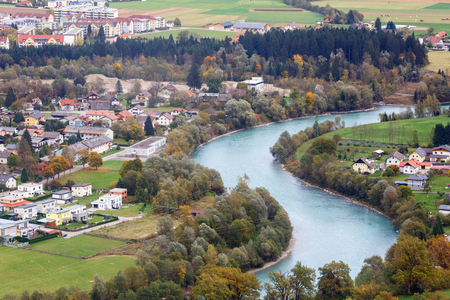 Aerial view of the alpine town of Spittal an der Drau, located on the banks of Drava river. Gurktal Alps (Nock Mountains), federal state of Carinthia, Austria.