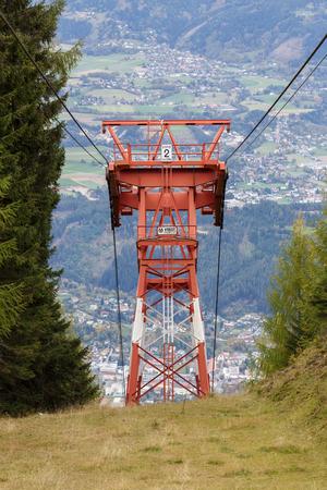 SPITTAL AN DER DRAU AUSTRIA - OCTOBER 8, 2017. Goldeck cable car neaby the town of Spittal an der Drau in the fall. Alps mountains, Carinthia, Austria