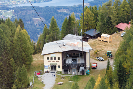 SPITTAL AN DER DRAU AUSTRIA - OCTOBER 8, 2017. Middle station of the Goldeck cable car at the altitude of 1650 m. Town of Spittal an der Drau, Alps mountains, Carinthia, Austria Editorial