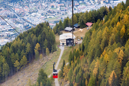 Middle station of the Goldeck cable car at the altitude of 1650 m. Town of Spittal an der Drau, Alps mountains, Carinthia, Austria Editorial