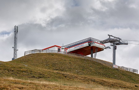 GOLDECK AUSTRIA - OCTOBER 8, 2017. Cable car station Skyliner of the ski resort Goldeck in the fall. Alps mountains, Carinthia, Austria. Editorial