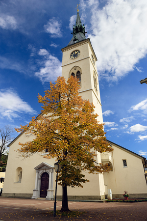 Old bell tower of the church Maria Verkuendigung in the town of Spittal an der Drau, located on the southern slopes of the Gurktal Alps (Nock Mountains) in the federal state of Carinthia, Austria.