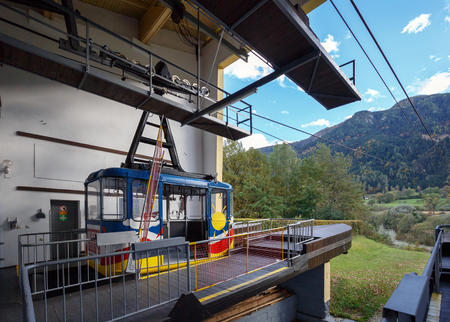 SPITTAL AN DER DRAU AUSTRIA - OCTOBER 8, 2017. Valley station of the Goldeck cable car. Town of Spittal an der Drau, Alps mountains, Carinthia, Austria
