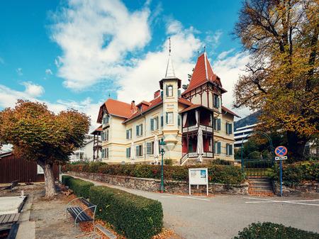 MILLSTATT AUSTRIA - OCTOBER 8, 2017. Villa Streintz in the fall. Millstatt am See, Carinthia, Austria. 報道画像
