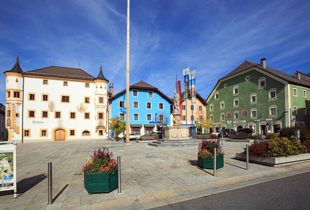 TAMSWEG, AUSTRIA - OCTOBER 11, 2017. Central square of the market town of Tamsweg, located within the Central Eastern Alps. Lungau region, state of Salzburg, Austria