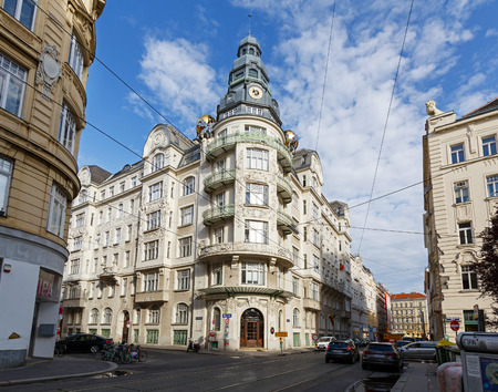 VIENNA AUSTRIA - JULY 9, 2017. Palais des Beaux Arts, erected between 1908 and 1909. Embassy of the Republic of Lithuania and Moldova. District Landstrasse, Vienna, Austria