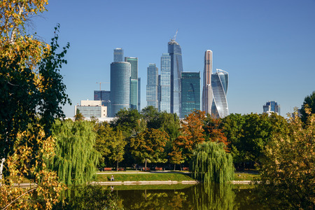 MOSCOW  RUSSIA - MAY 1, 2017. Moscow International Business Center Moscow-City on a summer morning, view from the Novodevichy Convent. Moscow, Russia
