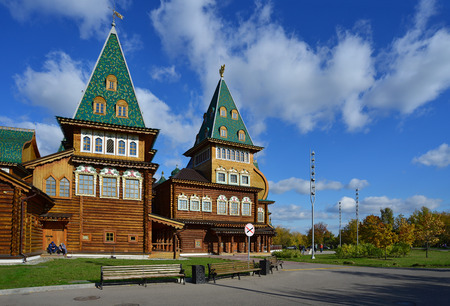 MOSCOW RUSSIA - OCTOBER 4, 2014. A modern reconstruction of the Wooden palace in  Kolomenskoye, the favorite residence of Tsar Alexis I. Moscow, Russia Editorial