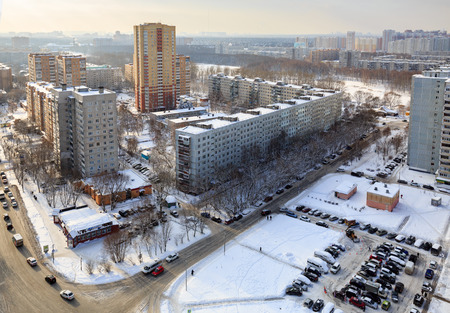 BALASHIKHA, RUSSIA - FEBRUARY 1, 2018. Aerial view of the residential neighborhood in winter after snowfall. Balashikha. Moscow region, Russia.