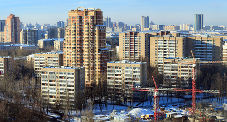 Aerial view of the new and old apartment houses. South-Western Administrative Okrug, Gagarinsky district, Moscow, Russia.