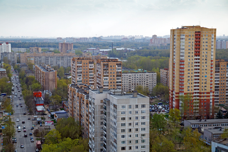 BALASHIKHA/ RUSSIA - APRIL 27, 2014. Aerial view of the modern residential neighborhood in city of Balashikha, Moscow region, Russia. Redactioneel