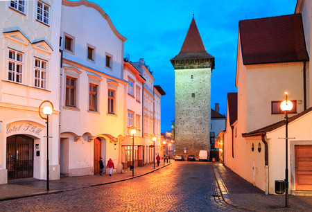 ZNOJMO, CZECH REPUBLIC - DECEMBER 28, 2017. Old downtown of Znojmo with the night illumintion on a winter evening. View of the Vlkova Tower - eng: Wolf Tower. Czech Republic, Europe. Editorial