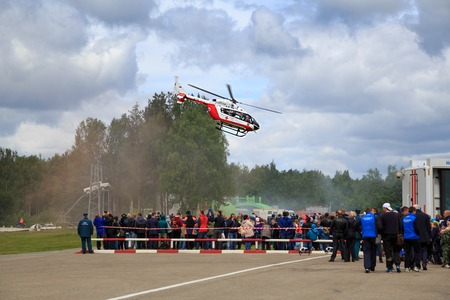 NOGINSK, RUSSIA - JUNE 06, 2018. Helicopter RA-01886 as air ambulance during the international exhibition Complex Safety-2018. Noginsk Rescue Center of the Ministry of Emergency Situations, Russia. Editorial