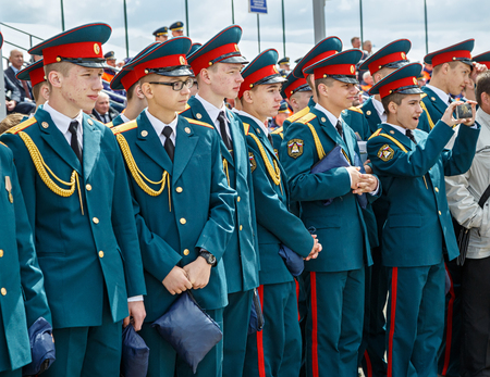 NOGINSK, RUSSIA - JUNE 06, 2018. Cadets of the Academy of civil protection of EMERCOM of Russia during the international exhibition Complex Safety-2018. Noginsk, Moscow region, Russia. Sajtókép