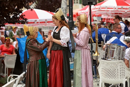 MELK, AUSTRIA - JULY 8, 2018. Women in national costumes at the festival in the town of Melk. Lower Austria, Europe.