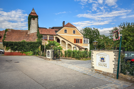 WEISSENKIRCHEN IN DER WACHAU, AUSTRIA - JULY 8, 2018. Old winery and wine tavern. Town of Weissenkirchen in der Wachau, district of Krems-Land, Lower Austria, Europe.