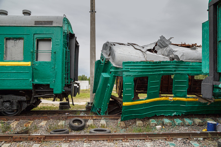 Broken train for the simulation of train accident at the training ground of the Noginsk Rescue Center. Town of Noginsk, Moscow region, Russia