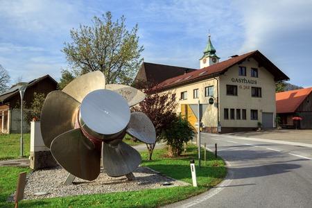 ALTENMARKT BEI ST. GALLEN, AUSTRIA - OCTOBER 16, 2018. Turbine for hydroelectric power plant installed in the municipality of Altenmarkt bei Sankt Gallen, district Liezen, state of Styria, Austria. Editorial