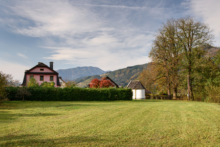 View of the town of Altenmarkt bei Sankt Gallen in the fall. District Liezen, state of Styria, Austria, Europe. Editorial