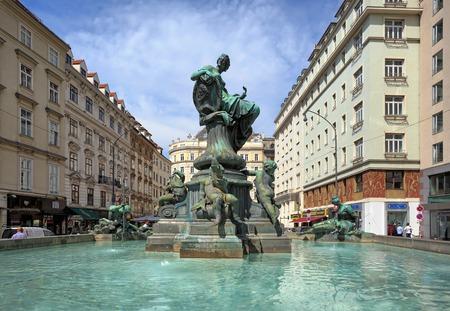 VIENNA, AUSTRIA - JULY 7, 2017. Donnerbrunnen fountain on the Neuer Markt square in the inner city of Vienna, Austria.
