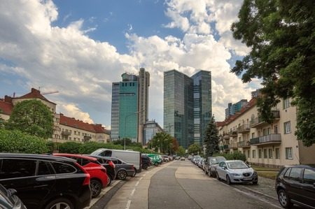 VIENNA, AUSTRIA - JULY 10, 2017. Street leading to the skyscrapers of the Winerberg City. District Favoriten, city of Vienna, Austria