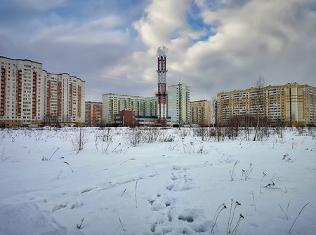 New residential neighborhood in the winter. City of Balashikha, Moscow region, Russia.