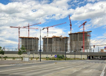 Construction site of the new residential development in the center of Vienna, Austria. Stockfoto