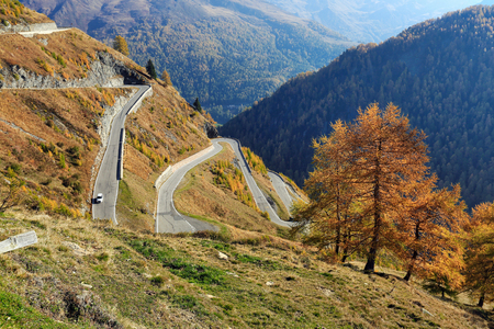 Timmelsjoch high alpine road in the fall. Oetztal Alps,Texelgruppe nature park, South Tyrol, Italy.