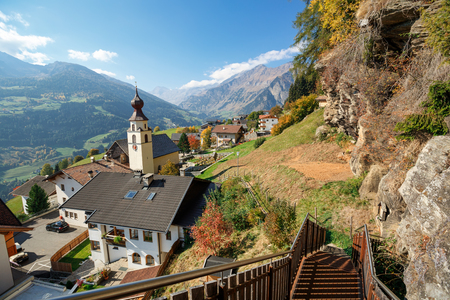 Panoramic view of the alpine village of Stulles in province of the fall. Stubai Alps, municipality of Moos in Passeier, South Tyrol, Italy. 写真素材