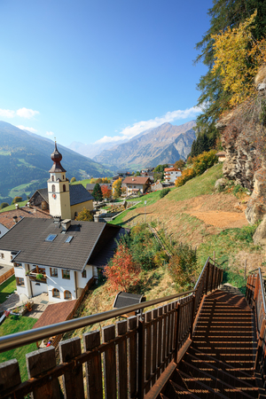 Panoramic view of the alpine village of Stulles in province of  the fall. Municipality of Moos in Passeier, Stubai Alps, South Tyrol, Italy. 写真素材