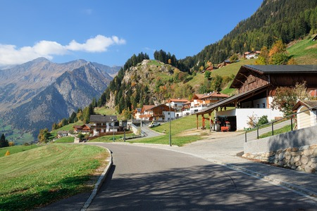 View of the alpine village of Stulles in province of  the fall. Stubai Alps, municipality of Moos in Passeier, South Tyrol, Italy. 写真素材
