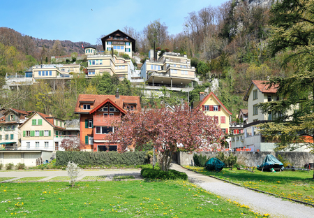 Beautiful mountain village on a sunny spring day. Village of Weesen, See-Gaster, canton of St. Gallen, Switzerland