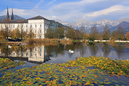 Admont Abbey on the Enns River located in the middle of the Ennstal Alps. Town of Admont, Gesause National Park, state of Styria, Austria.