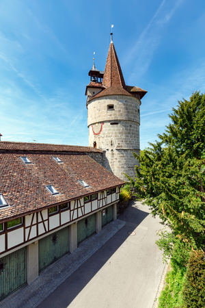 View of the Capuchin Tower of 16th century. Capuchin monastery of St. Anna, town of Zug, Switzerland. 写真素材