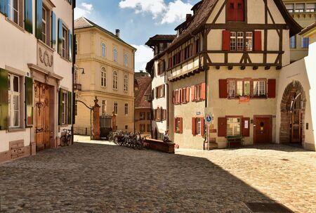 BASEL, SWITZERLAND - APRIL 17, 2019. Old town Grossbasel. Historical houses on the Muensterberg street. City of Basel, Switzerland, Europe