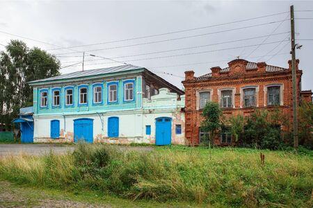 Russian village in summer. Historical residential houses. Village of Visim, Sverdlovsk region, Russia.