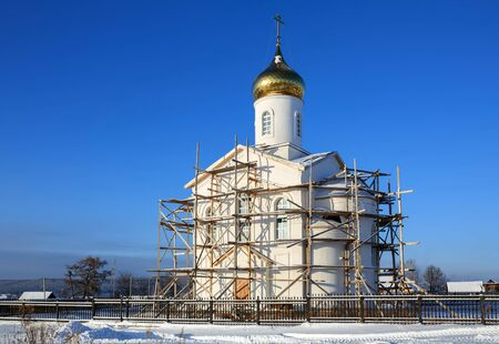 Russian orthodox church of Vladimir equal to the Apostles under construction. Village of Visim, Sverdlovsk region, Ural, Russia