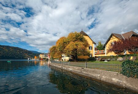 Autumn in the alpine town of Millstatt am See, situated on the shore of the Millstatt lake. Gurktal Alps, state of Carinthia, Austria