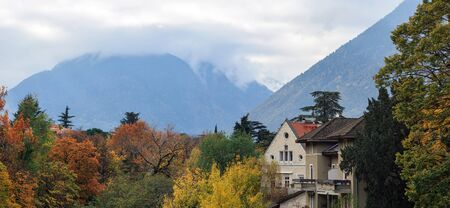 Town of Merano in the fall. Panoramic view. Alpine landscape. Trentino-Alto Adige region, South Tyrol, Italy, Europe.