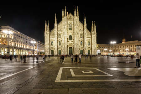 MILAN, ITALY - APRIL 17, 2018. Milan Cathedral -Duomo di Milano - at night, as viewed from Duomo square. City of Milan, region of Lombardy, Italy, Europe. Editorial