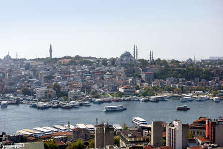 Skyline of Istanbul, as seen from Galata Tower. View of the Suleymaniye Mosque. City of Istanbul, Turkey.
