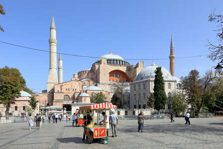 ISTANBUL, TURKEY - OCTOBER 05, 2020. View of Hagia Sophia Cathedral and Murad III Mausoleum. Sultanahmet neighborhood, City of Istanbul, Turkey.