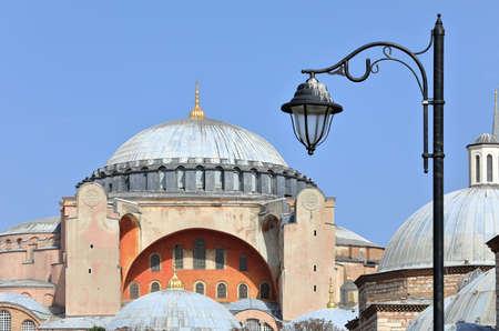 Closeup of the Hagia Sophia Grand Mosque on a sunny day. Sultanahmet neighborhood, city of Istanbul, Turkey. 写真素材