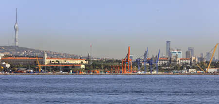 ISTANBUL, TURKEY - OCTOBER 05, 2020. View of Port of Haydarpasa in the Bosphorus Strait and Camlica TV Radio Tower. Uskudar district, city of Istanbul, Turkey.