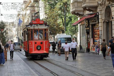 ISTANBUL, TURKEY - OCTOBER 07, 2020. Heritage tram on the Istiklal Avenue, on the Taksim-Tunel Nostalgia Tramway. Beyoglu district, city of Istanbul, Turkey. 報道画像