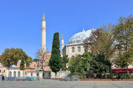 ISTANBUL, TURKEY - OCTOBER 05, 2020. View of Hagia Sophia and Murad III Mausoleum in the fall. Sultanahmet neighborhood, City of Istanbul, Turkey.